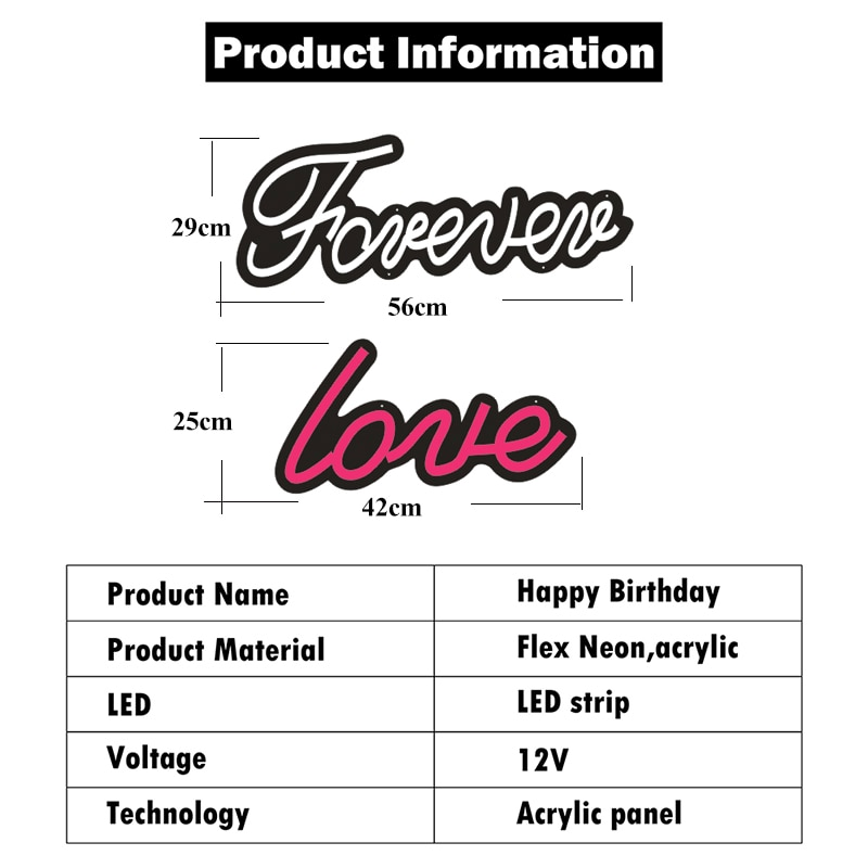 Custom Neon Sign Forever Love Led Lights For Home Wall Windows Shop Display Bedroom Lamp Signs Love Night Light enlarge