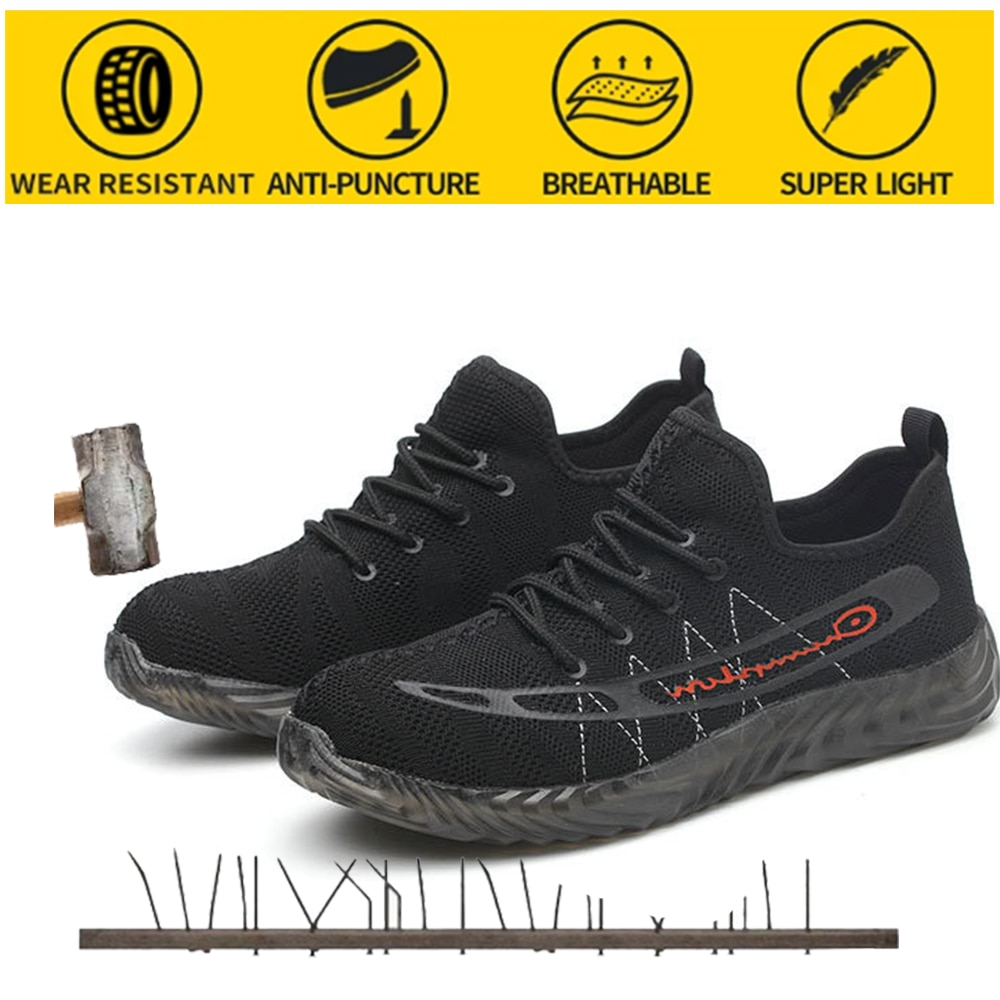 Dorpshipping أحذية أمان ارتداء عدم الانزلاق أحذية أمان رأس الصلب خفيفة الوزن مكافحة تحطيم مكافحة ثقب أحذية أمان