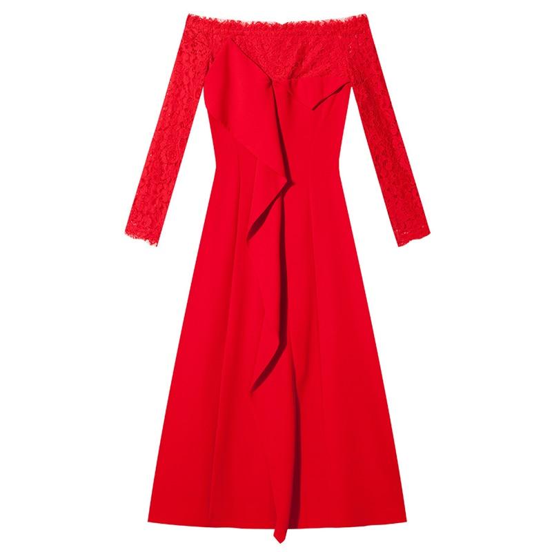 السنة الجديدة ملابس الحفلات مثير سيدة ميدي طول قبالة الكتف طويلة الأكمام الكشكشة المتتالية الأحمر الدانتيل فستان عيد ميلاد للنساء