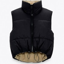 Cropped Vest Women Coat Sleeveless Down jacket Gilets Female Outerwear Chic Top Waistcoat Coat Chale