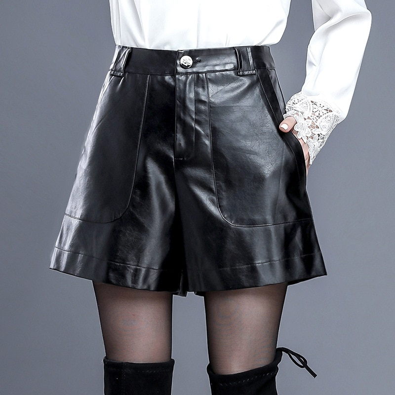 Black Fashion High Waist Shorts Girls A-line Elegant Leather Shorts Bottoms Wide-legged Shorts Autumn Winter Women Plus Size 4XL