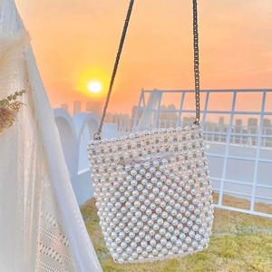 Luxury Pearl Bucket Bag Woman Purses And Handbags Chic Handmade Clear Beading Evening Shoulder Bags Ladies Messenger Bags Dinner
