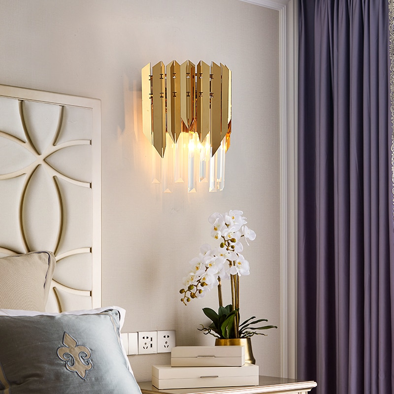 Jmzm Modern Crystal Golden Wall Lamp Bedroom Bedside Lamp Modern Minimalist Creative Personality Corridor Aisle Wall Lamp