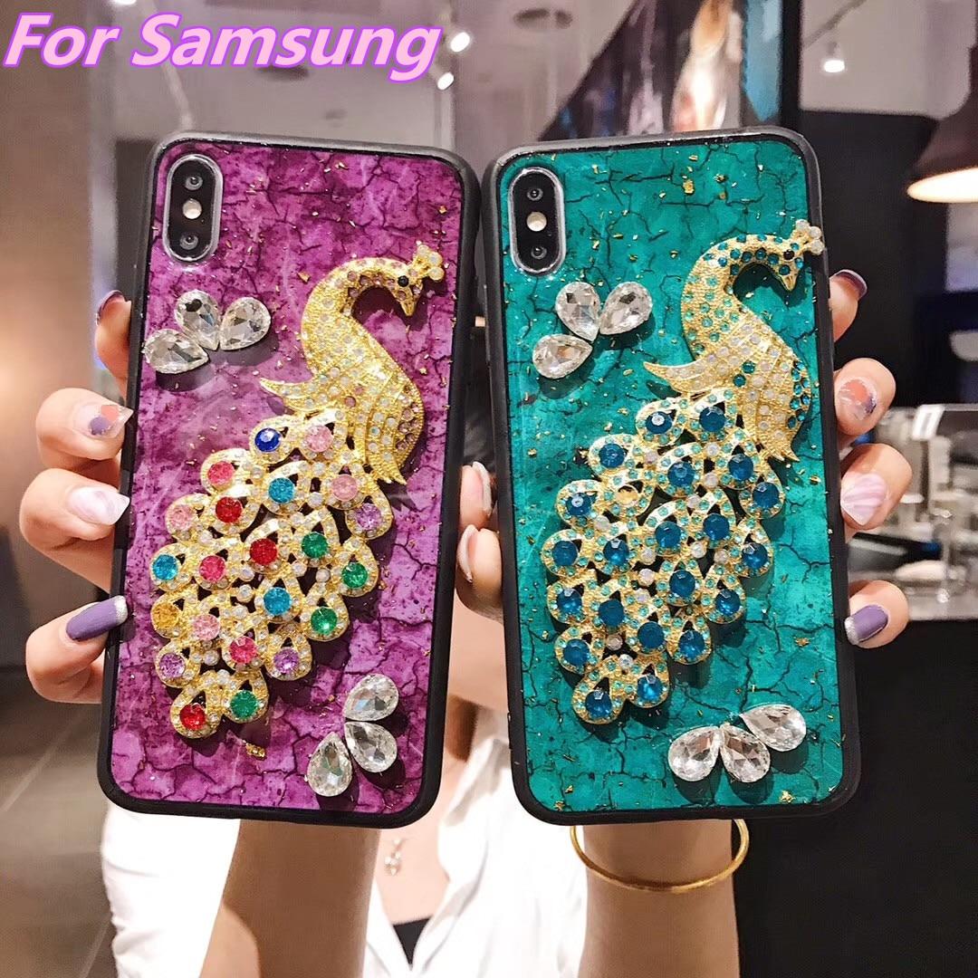 Teléfono funda para Samsung A20 A50 A9 A8 A7 A6 A5 J8 J7 J6 J4 2018 de lujo brillo Pavo Real de diamantes de cristal caja suave del teléfono móvil del TPU