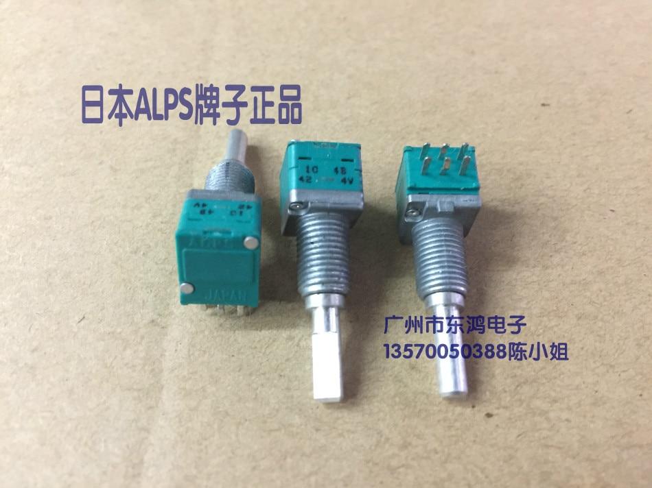 2 unids/lote ALPS tipo RK097 doble potenciómetro B100K con eje neutro longitud 23mm