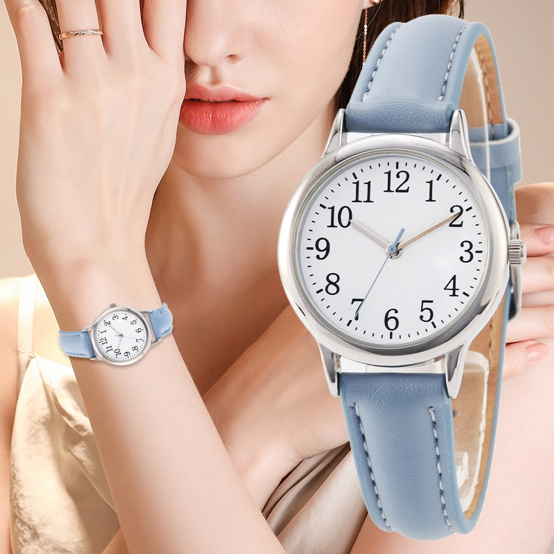 Japan Movement Women Quartz Watch Arabic numerals Easy Reading PU Leather Strap Lady Candy Color Simple Dial enlarge