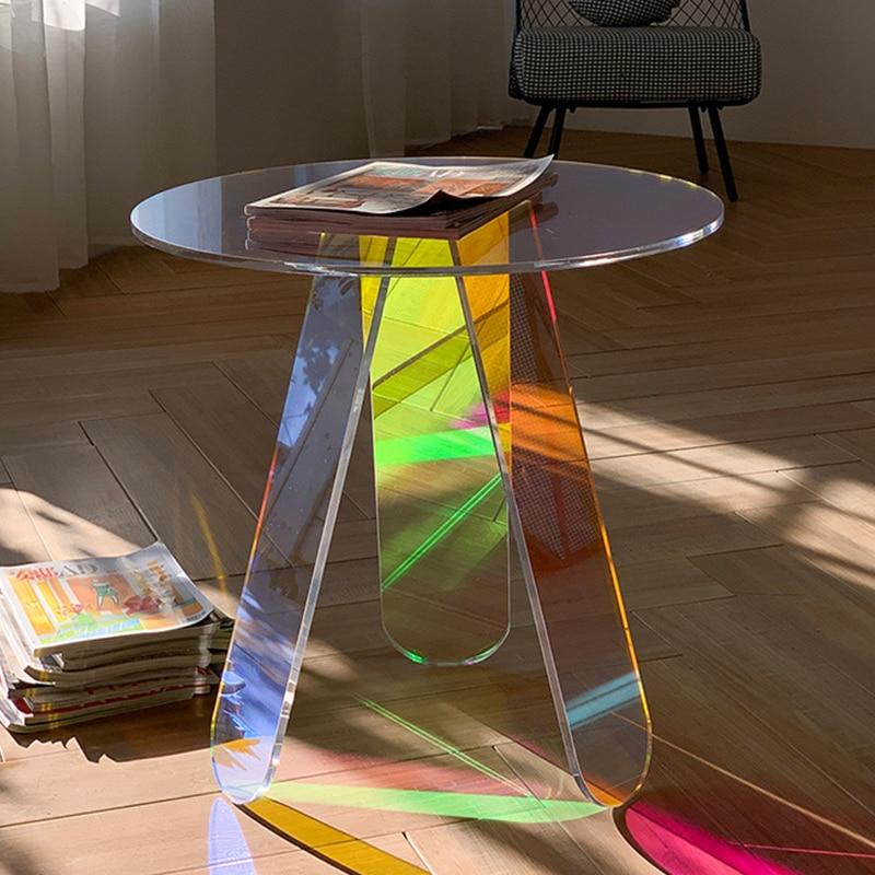 اللون الاكريليك طاولات القهوة مستديرة شفافة طاولة جانبية غرفة المعيشة ديكور الأثاث الحديثة الفاخرة غرفة نوم بسيطة السرير طاولة جانبية