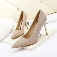 2021 korean fashion pointed shallow mouth high heels nightclub banquet women high heels single shoes professional womens shoes