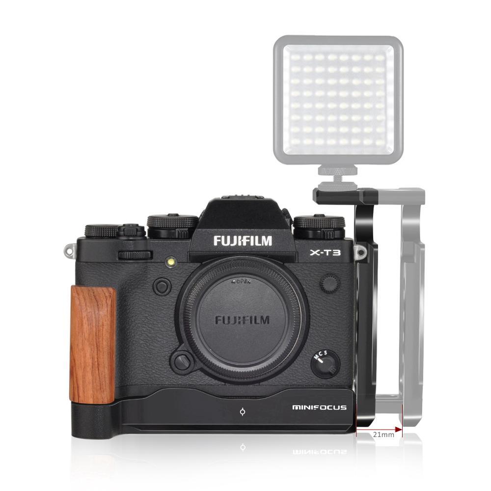 Minifocus xt3 placa de liberação rápida vlogging l suporte com sapato frio para fujifilm X-T3 X-T2 meia gaiola vlog vídeo rig