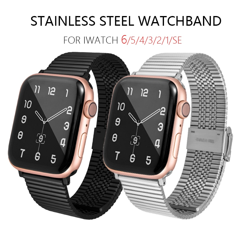 sport strap for apple watch band 44mm 40mm 42mm 38mm silicone bracelet smart wristband correa for iwatch series 6 5 4 3 2 1 se Metal Stainless Steel Strap For Apple Watch Band 6 SE 5 4 40mm 44mm 38mm 42mm Bracelet Correa Sport Band for iWatch series 3 2 1