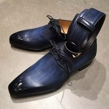 Men's Pure Color Gradient Handmade PU Low Heel Strap Pointed Toe Four Seasons Fashion Trend Business