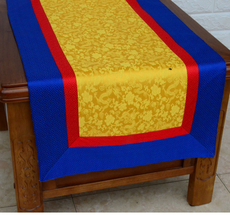 Custom Patchwork Tibetan style Jacquard Small Cabinet Dust Cover Cloth Chinese Silk Satin Rectangle Coffee Tea Table Cloth enlarge