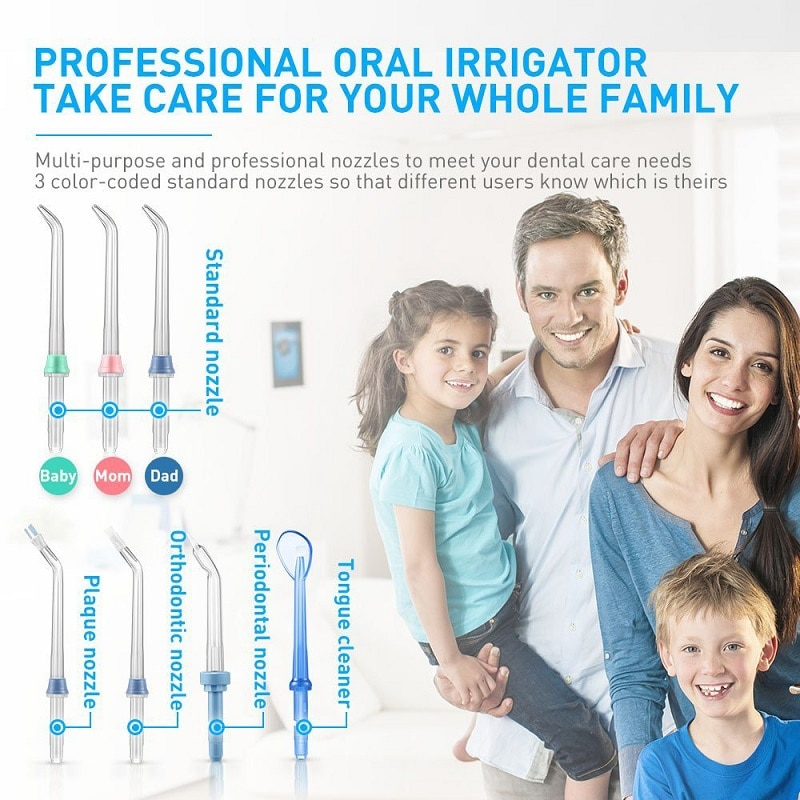 Dental Oral Irrigator Teeth Cleaner Water Flosser Spa Tooth Care Clean With 7 Multi-functional Tips For Family enlarge