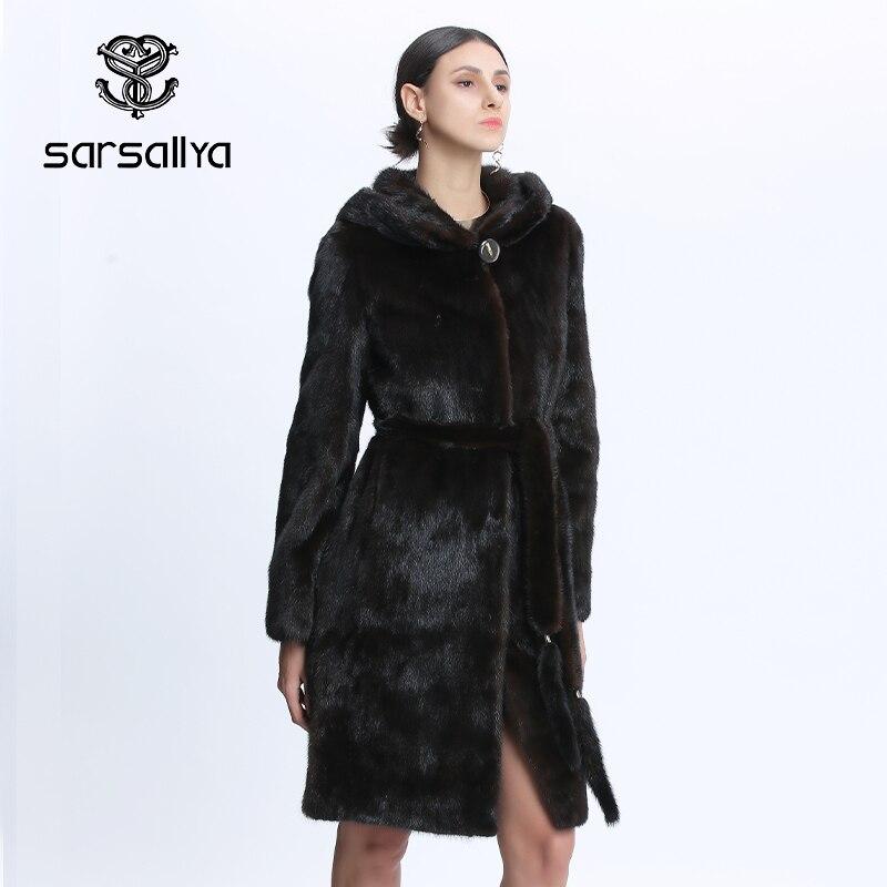 المنك معاطف النساء الطبيعي المنك سترة مع هود الإناث الحقيقي المنك الفراء معطف مع حزام السيدات الشتاء الدافئة حقيقية الفراء معطف الفاخرة