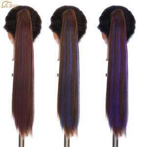 """Talang22"""" Synthetic High Temperature Fiber Women Claw on Ponytail Clip in Hair Extensions Straight Style Pony Tail Hairpiece"""