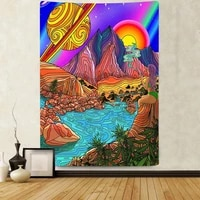 simsant trippy mountain sun tapestry colorful psychedelic art wall hanging tapestries for living room bedroom home dorm decor