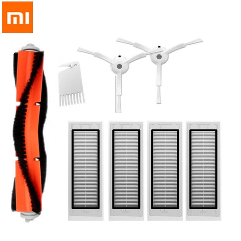 8pcs HEPA Filter + Side Brush + Main Brush for Xiaomi MI Robot 1S Replacements Kit Vacuum Cleaner Parts Accessories