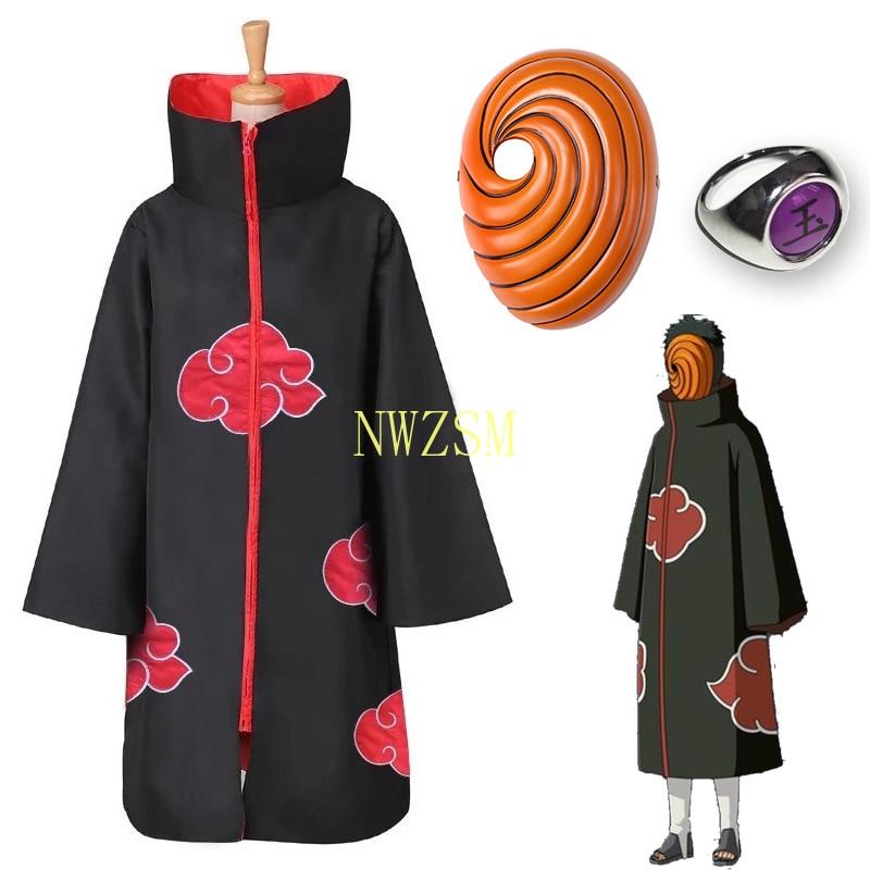 Naruto Uchiha Tobi Obito Akatsuki Cosplay Costume Cloak Mask Halloween Man Woman Cosplay Costume Accessories hot naruto sai cosplay costume halloween costume full set