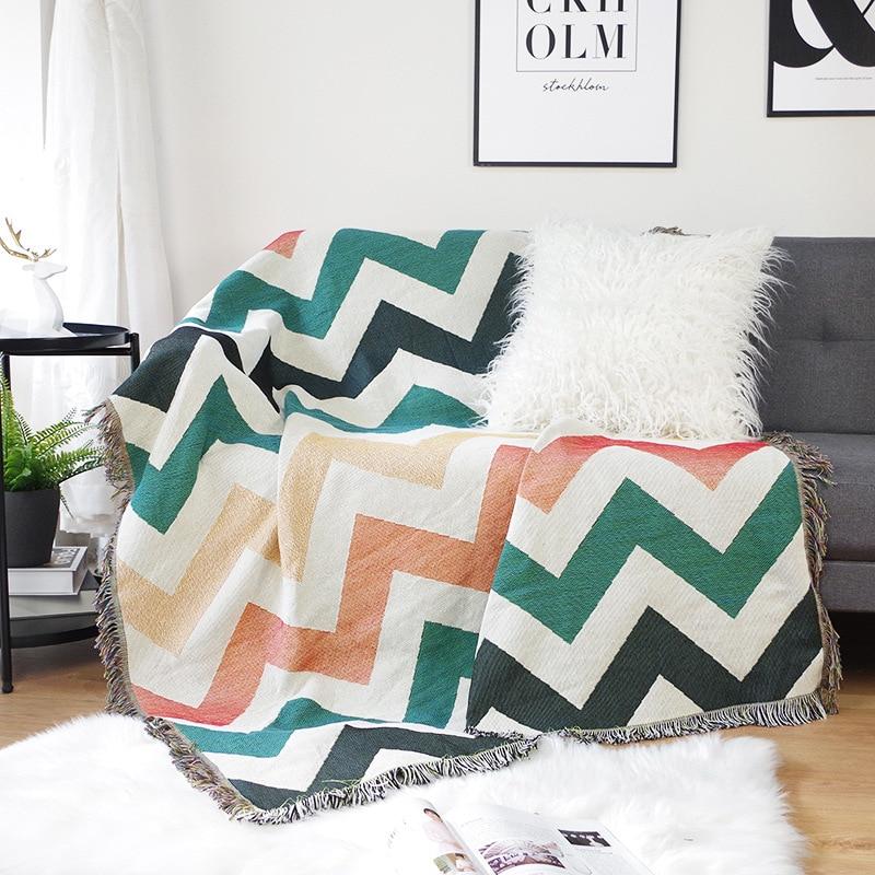 هندسية موجة نمط رمي بطانية محبوك قيلولة البطانيات السجاد نسيج غطاء أريكة منشفة المنزل السرير انتشار الزخرفية