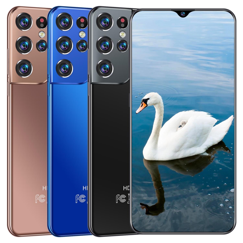 هاتف جالاكسي S21Ultra 2021 الأحدث بشاشة 6.3 بوصات سناب دراجون 865 أندرويد 10.0 12 جيجا بايت 512 جيجا بايت 6800mAh ببصمة أصابع هاتف ذكي