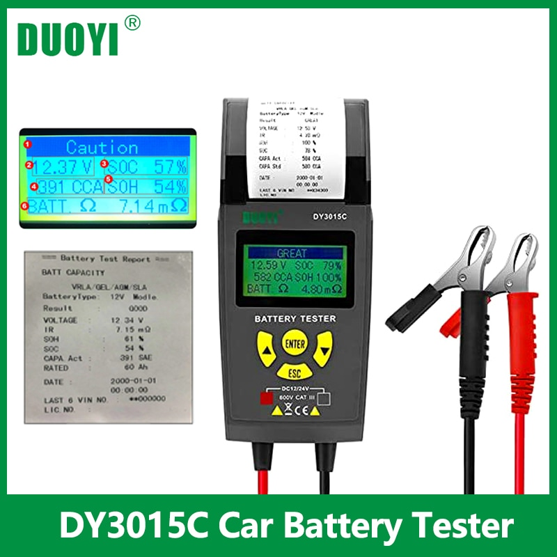 DUOYI DY3015C 12V/24V Car Battery Tester Automotive Battery Analyzer Cranking Charging Tester Auto Vehicle Repair Test Tool