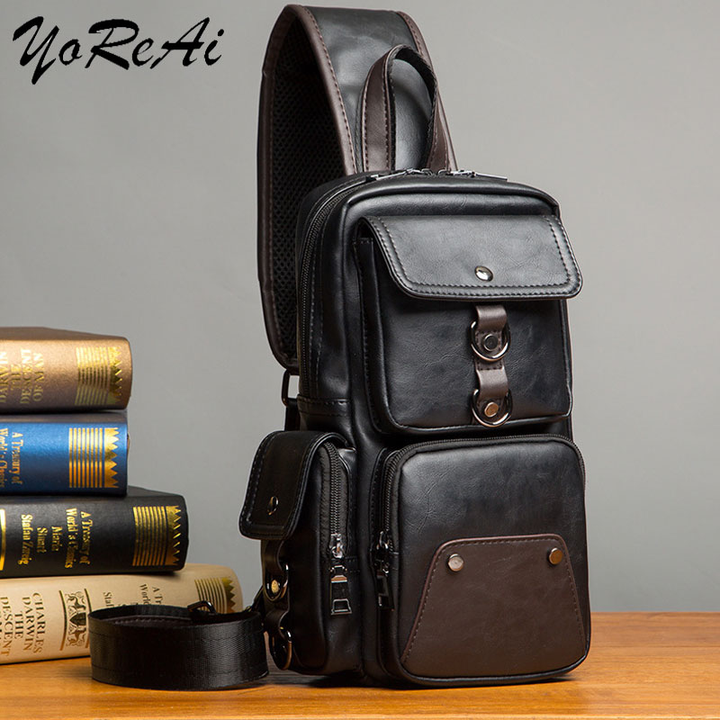 YoReAi Mens Fashion Crossbody Bag Theftproof Rotatable Button Open Leather Chest Packs Men Shoulder Bags Waist Pack