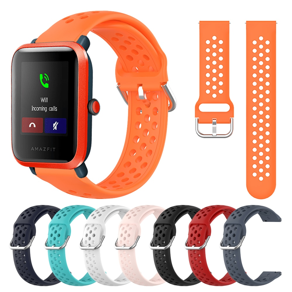 20mm SILICONE STRAP For Amazfit Bip S Watch Band for Xiaomi Huami Amazfit GTS Bip lite Wristband Bracelet Replacement Watchband protection case for huami amazfit bip s replacement pc watch case cover shell frame protector for xiaomi huami amazfit bip lite