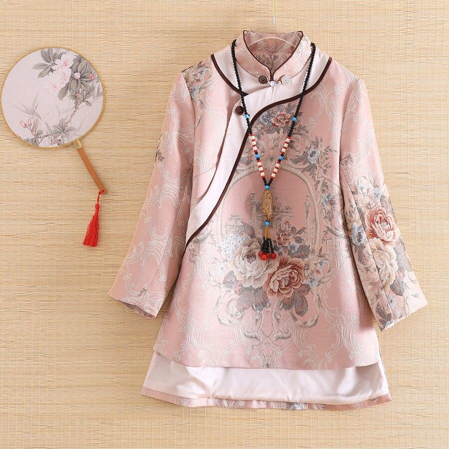Embro Mill autumn Women jacket top Chinese Style Retro Jacquard 3/4 sleeve elegant Loose lady coat female S-2XL
