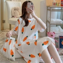 2021 Women Short Sleeve Sleepwear Cotton Night Gowns Summer Cartoon Nightgowns Home Wear Girls Sleep