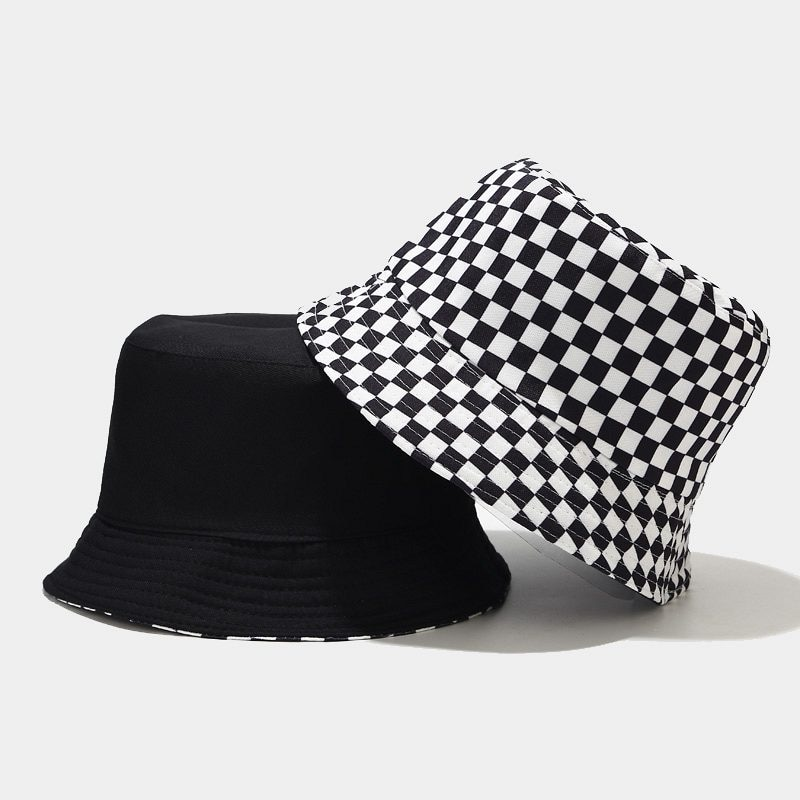 2020 Black White Bucket Hat Flat Fishing Hat Hip-Hop Plaid Cap Hats Autumn Grid Fashion Design Fisherman Hat