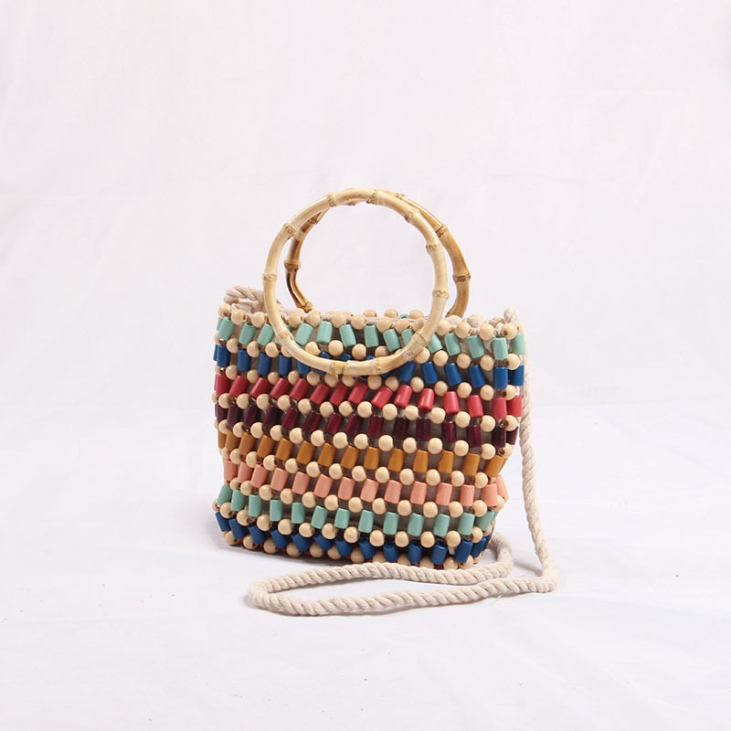 Hechos a mano nuevos carteras con abalorios bolso de hombro inclinado bolso de cuentas de colores bolso de playa bohemio bolso de diseño de diseñador femenino paquete