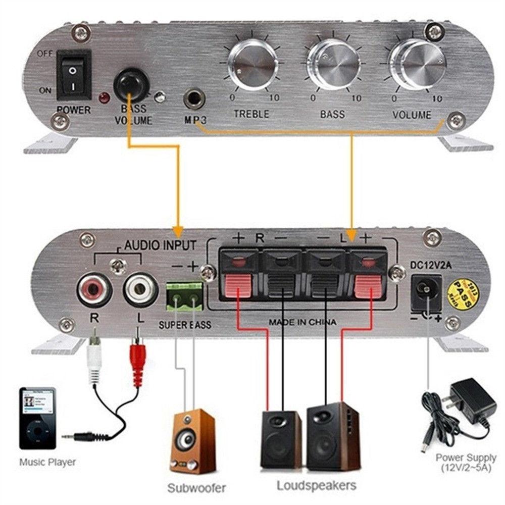 300W 12V amplificador Booster Radio MP3 estéreo coche Subwoofer hogar Hi-Fi 2,1 T venta