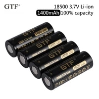 gtf 18500 1400mah real capacity 3 7v li ion rechargeable battery for flashlight toy electronic product 3 7v flat head batteries