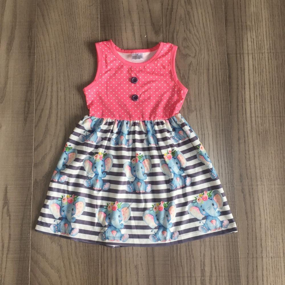 new arrivals Summer dress baby girls clothes boutique milk silk cotton knee length coral blue elephant stripe button