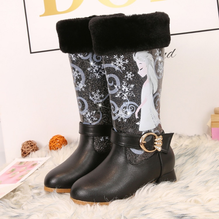 Children's boots winter girls'shoes children's high-heeled boots pink children's boots cartoon warm boots enlarge