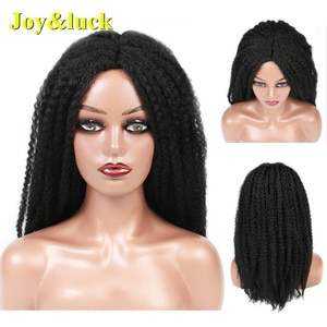 Long Afro Kinky Curly Sythetic Wigs Middle Part Crochet Braids Wigs Black Color Hair Wigs Cosplay or Daily Use Hair Style