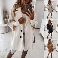 2021 vintage overcoat loose female coat womens coat autumn winter the new fashion long style jacket plus size pockets outerwear