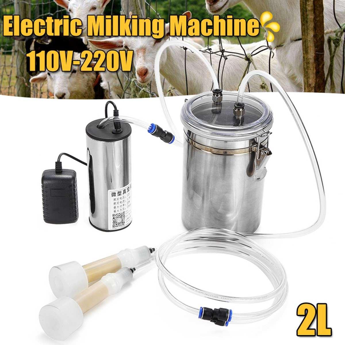110-220V 2L 2 Teats Manual Electric Milking Machine Pump Kit Milker Barrel Cattle Cow Sheep Ewe Goat Dairy Tool Home Farm