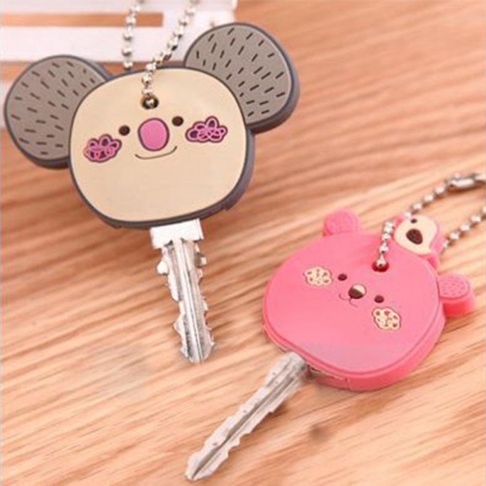 1 piece Lovely Korea Cute Animal Soft Key Top Head Cover Chains Cap Keyring Phone Strap DIY key Hold