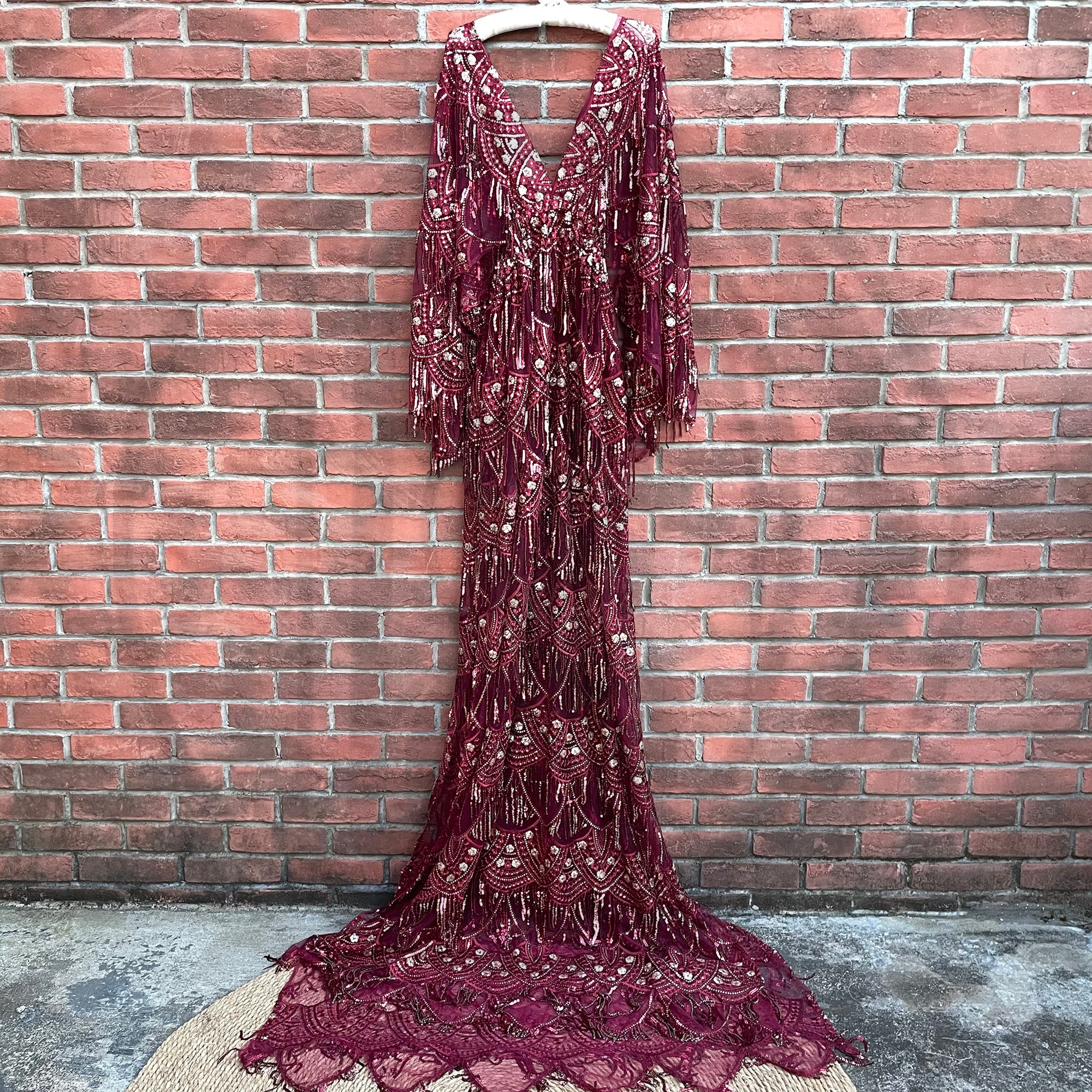 Retro Boho Sequent Maternity Clothing Sparkly Pregnant Gown Lace Robe Couture Woman Photography Costume Baby Shower Dress enlarge