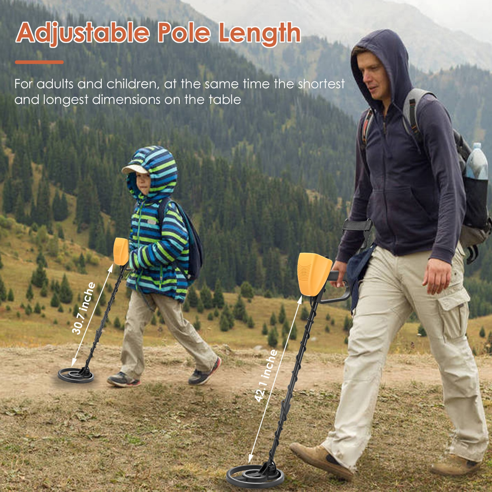 High Accuracy Waterproof Metal Detectors With LCD Display All Metal& Pinpoint Mode 2 Pounds7.5Inch Search Coil enlarge