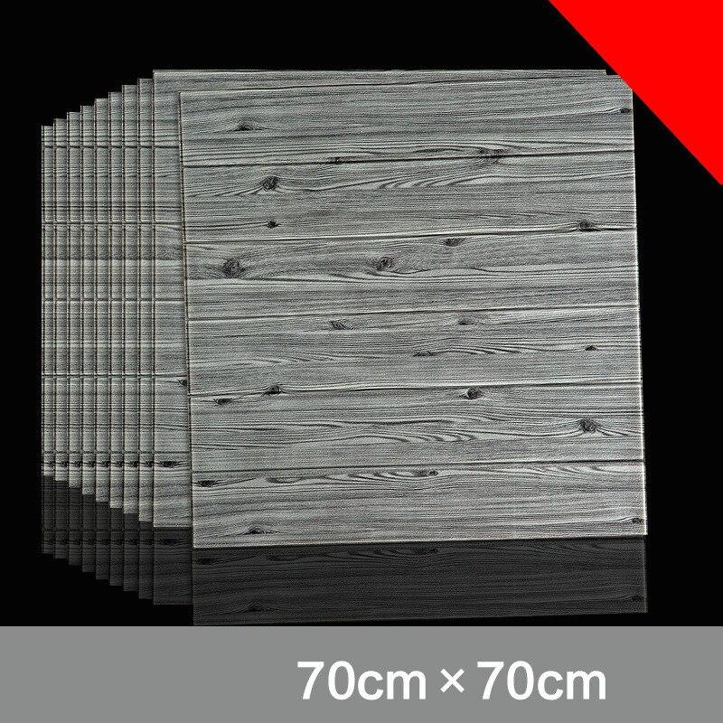 10pcs Self adhesive Waterproof TV Background Wood grain 3D Wall Sticker Living Room Wallpaper Mural Bedroom Decorative Stickers