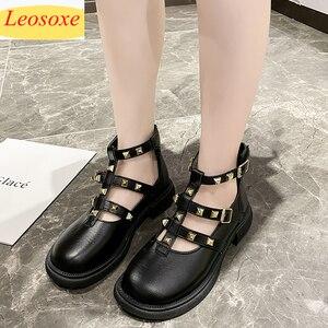 Autumn New Style Women Shoes Fashion Rivets Brand Shoes Leather Shoes Black Dress Flats Fashion Shoes Mary Jane Lolita Shoes