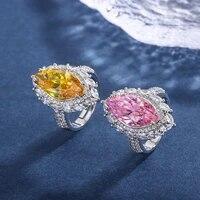 funmode pink yellow cubic zircon women rings for wedding women party naija finger ring wholesale fr313