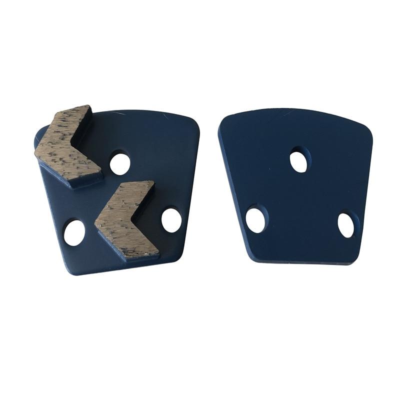 Bare Hole Teapezoid Concrete Grinding shoes Medium Hard Bond Floor Pads For Concrete Terrazzo Preparation 12Pcs Free Shipping