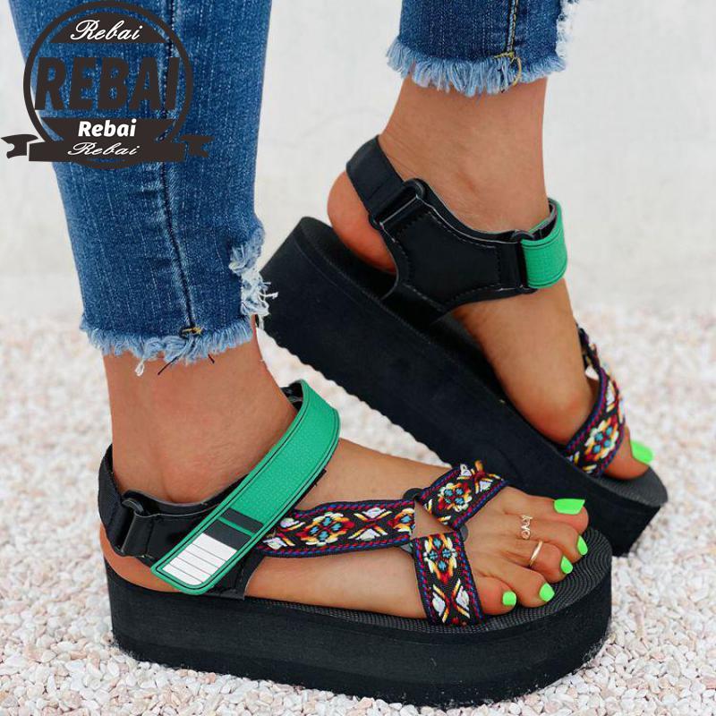 Sandalias De gladiador con Plataforma para Mujer, cuñas De Velcro De colores...