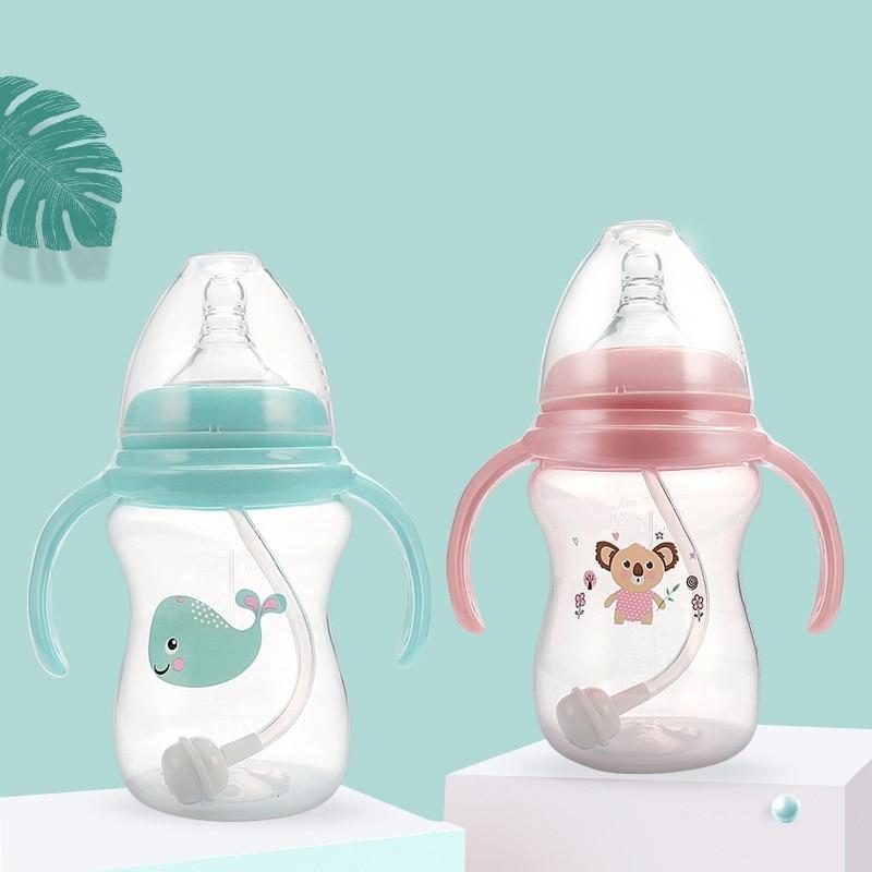 180ml Baby Feeder Bottle Slow Flow Tritan Kids Anti-Colic Breast-Like Nipple Milk Water Cup With Handle BPA-Free