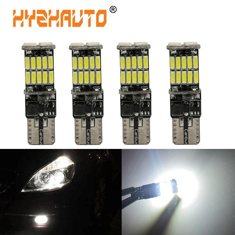 Hyzhauto 4 pc t10 w5w canbus carro luzes led 194 501 lâmpadas 26 smd 4014 luzes de folga led auto luz da placa de licença nenhum erro 12 v