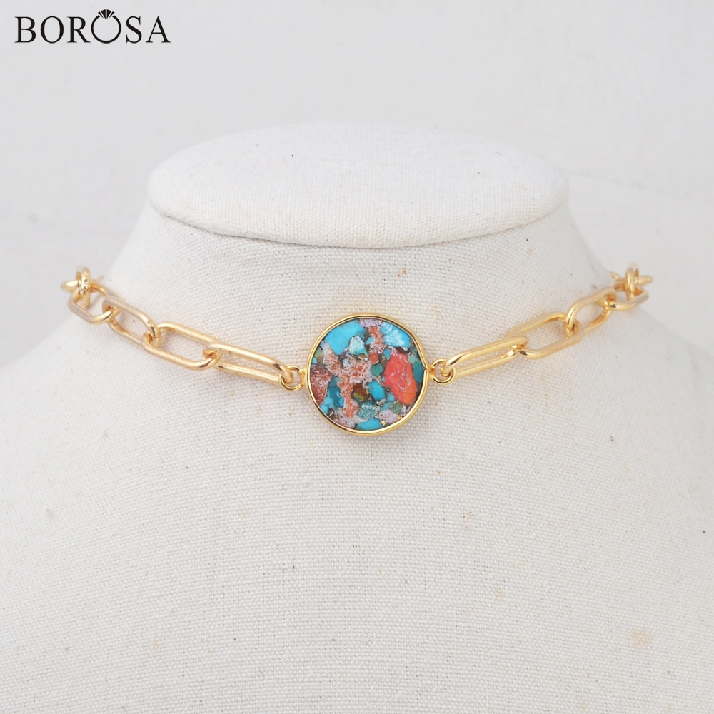 Borosa gemas naturais pedra colares para mulher 14 link link link corrente gild turquesa solar quartzo colar de cristal gargantilha hd0353
