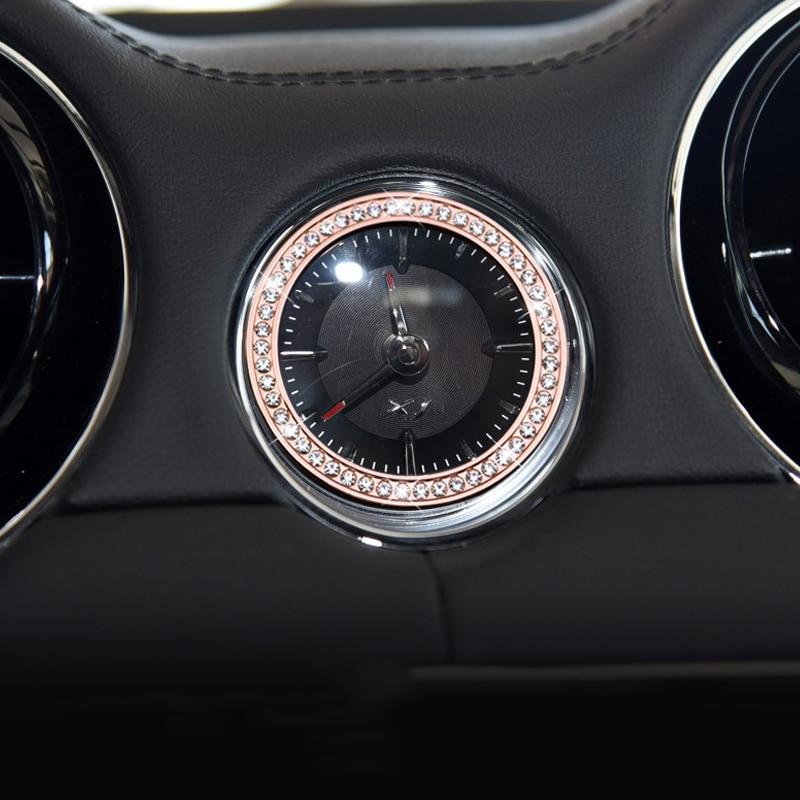 Car interior control clock decoration sticker for Jaguar XJ XJL diamond inlay alloy stickers car styling Accessories